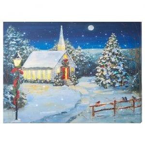 Christmas Church canvas